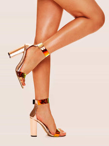 STILETTO SHOES Iridescent Ankle Strap Chunky Heels - EK CHIC