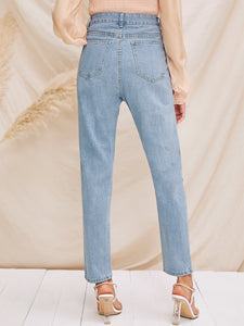JEANS Destroyed Ripped Detail Mom Jeans - EK CHIC