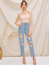 Load image into Gallery viewer, JEANS Destroyed Ripped Detail Mom Jeans - EK CHIC