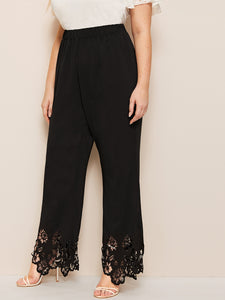 PANTS Plus Elastic Waist Laser Cut Pants - EK CHIC