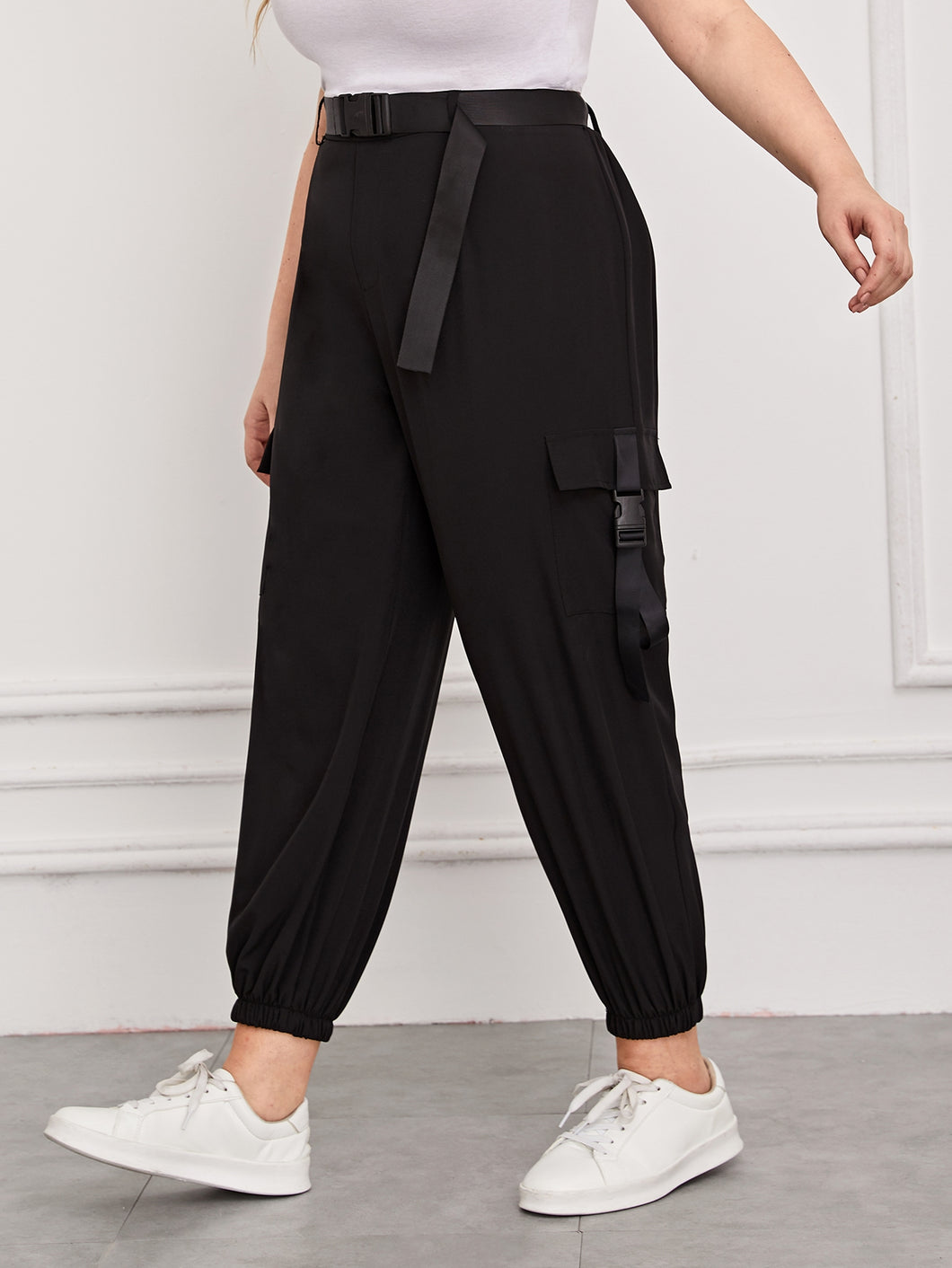 PANTS Plus Buckle Pocket Belted Cargo Pants - EK CHIC