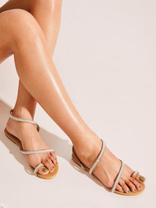 FLAT SANDALS Toe Ring Beaded Flat Sandals - EK CHIC
