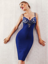 Load image into Gallery viewer, DRESS Lace Insert Zip Back Bustier Bodycon Slip Dress - EK CHIC