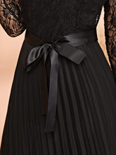 Load image into Gallery viewer, DRESS Lace Panel Plisse Hem Belted Dress - EK CHIC