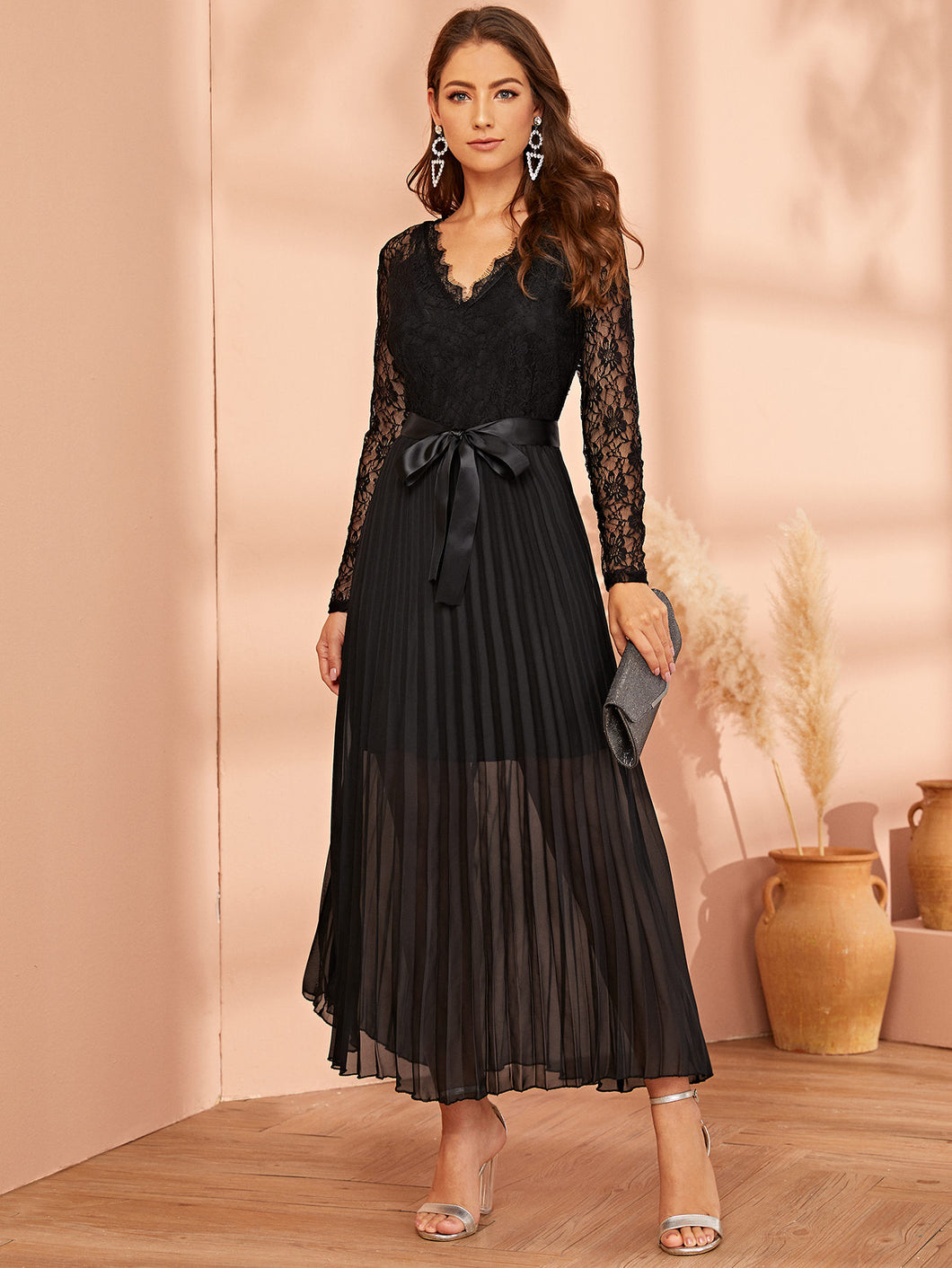 DRESS Lace Panel Plisse Hem Belted Dress - EK CHIC