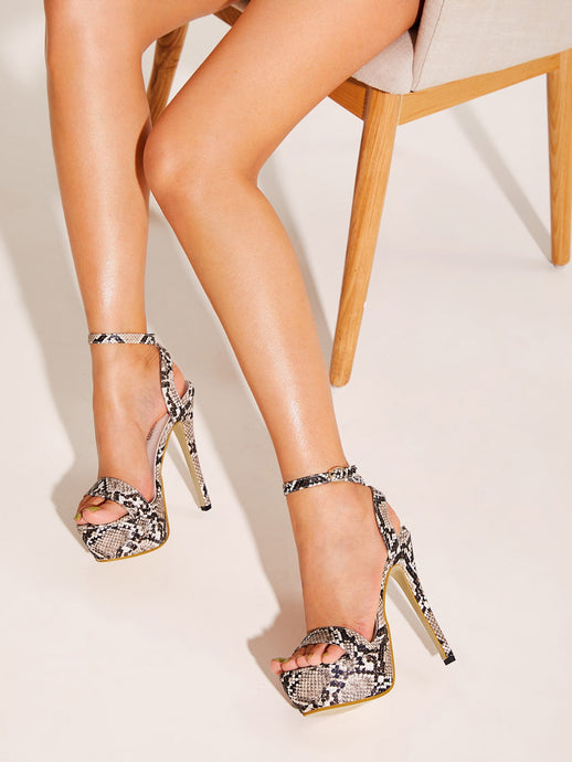 STILETTO SHOES Ankle Strap Snakeskin Platform Stiletto Heels - EK CHIC