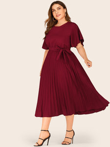 DRESS Plus Self Tie Butterfly Sleeve Pleated Dress - EK CHIC