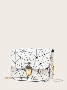 BAGS Geometric Print Push Lock Chain Bag - EK CHIC