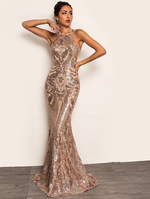 DRESS Tie Back Chain Detail Fishtail Hem Sequin Dress - EK CHIC