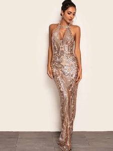 DRESS Split Hem Backless Halter Sequin Maxi Dress - EK CHIC