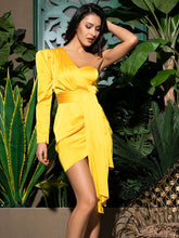 Load image into Gallery viewer, DRESS One Shoulder Tie Front Draped Satin Wrap Dress - EK CHIC