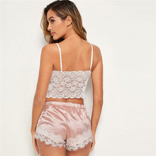 Load image into Gallery viewer, LINGERIE Floral Lace Cami Top With Satin Shorts - EK CHIC