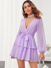 Load image into Gallery viewer, DRESS Plunging Neck Double Layer Hem Swiss Dot Dress - EK CHIC