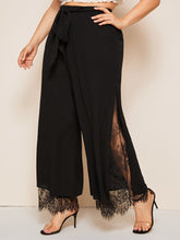 Load image into Gallery viewer, PANTS Plus Split Hem Lace Insert Palazzo Belted Pants - EK CHIC