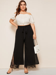 PANTS Plus Split Hem Lace Insert Palazzo Belted Pants - EK CHIC