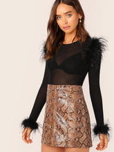 Load image into Gallery viewer, TOPS Faux Feather Detail Fitted Mesh Top Without Bra - EK CHIC
