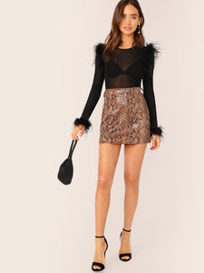 TOPS Faux Feather Detail Fitted Mesh Top Without Bra - EK CHIC
