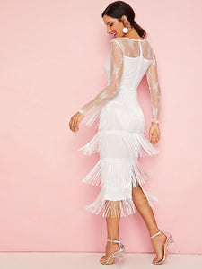 DRESS Lace Shoulder Tiered Layer Fringe Hem Split Dress - EK CHIC