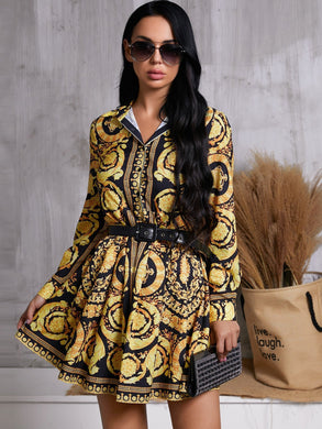 DRESSES Scarf Print Shirt Dress Without Belt - EK CHIC