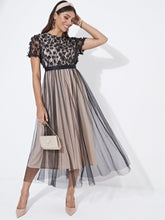Load image into Gallery viewer, DRESS 3D Appliques Mesh Overlay Fit and Flare Dress - EK CHIC