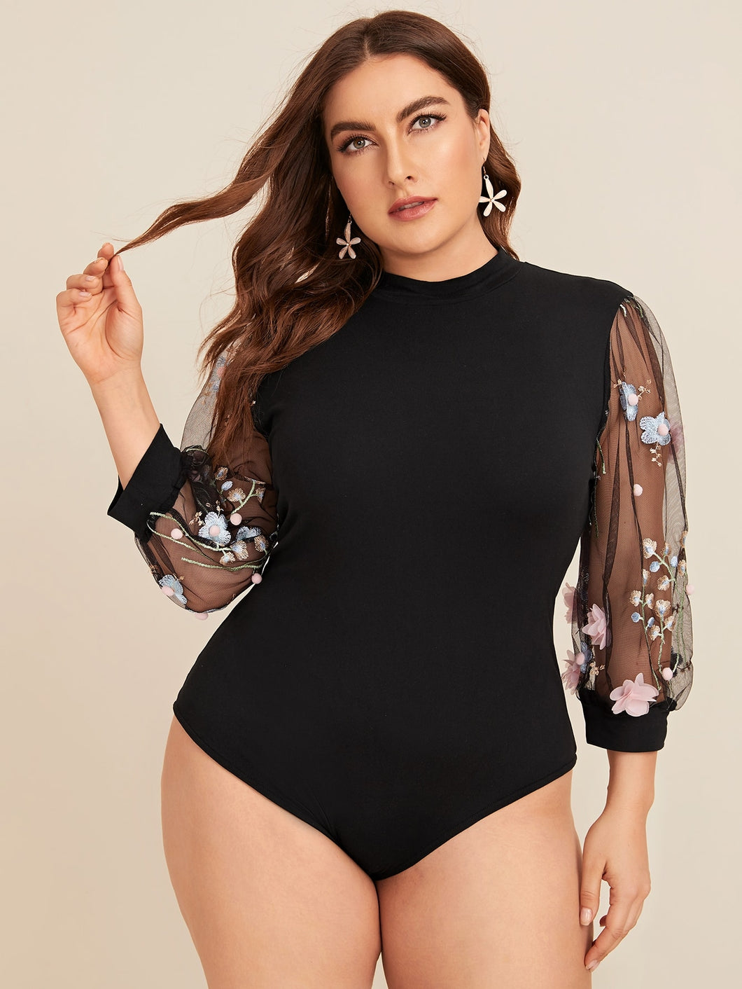 TOPS Plus Contrast Mesh Floral Embroidered Sleeve Bodysuit - EK CHIC
