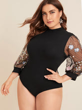 Load image into Gallery viewer, TOPS Plus Contrast Mesh Floral Embroidered Sleeve Bodysuit - EK CHIC