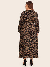 Load image into Gallery viewer, DRESS Plus Leopard Zip Back Belted Dress - EK CHIC