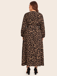 DRESS Plus Leopard Zip Back Belted Dress - EK CHIC