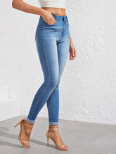 Load image into Gallery viewer, JEANS Washed Cuffed Hem Skinny Jeans - EK CHIC