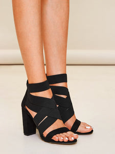 SANDALS Open Toe Cross Strap Chunky Heels - EK CHIC