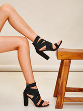 Load image into Gallery viewer, SANDALS Open Toe Cross Strap Chunky Heels - EK CHIC