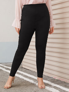 PANTS  Plus Pearl Embellished Skinny Pants - EK CHIC