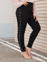 Load image into Gallery viewer, PANTS  Plus Pearl Embellished Skinny Pants - EK CHIC