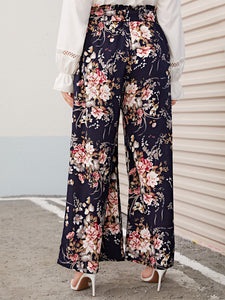 PANTS Plus Paperbag Waist Floral Print Wide Leg Pants - EK CHIC