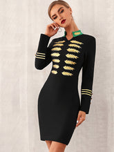 Load image into Gallery viewer, DRESS Embroidered Buttoned Detail Bodycon Dress - EK CHIC