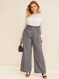 PANTS Plus Paperbag Waist Belted Palazzo Pants - EK CHIC