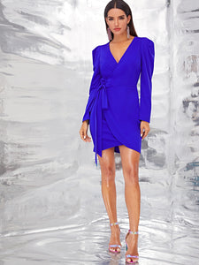 DRESS Solid Wrap Knotted Puff Sleeve Dress - EK CHIC