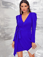Load image into Gallery viewer, DRESS Solid Wrap Knotted Puff Sleeve Dress - EK CHIC