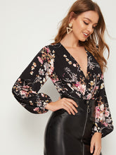 Load image into Gallery viewer, BODYSUIT Plunging Neck Lantern Sleeve Floral Print Combo Bodysuit - EK CHIC