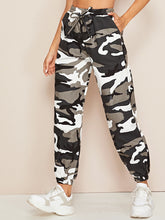 Load image into Gallery viewer, PANTS Knot Front Camo Print Cargo Pants - EK CHIC