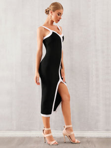 DRESS Split Thigh Contrast Binding Slip Dress - EK CHIC