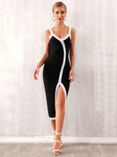 Load image into Gallery viewer, DRESS Split Thigh Contrast Binding Slip Dress - EK CHIC