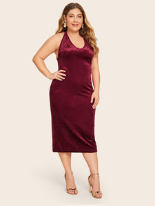 DRESS Plus Crisscross Back Velvet Dress - EK CHIC