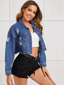 JEANS JACKET Ripped Raw Hem Crop Denim Jacket - EK CHIC