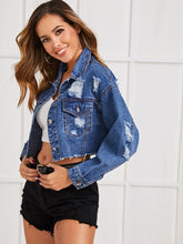 Load image into Gallery viewer, JEANS JACKET Ripped Raw Hem Crop Denim Jacket - EK CHIC