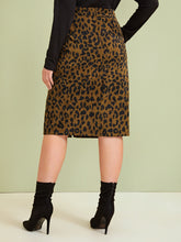 Load image into Gallery viewer, SKIRT Plus Leopard Print Split Front Skirt - EK CHIC