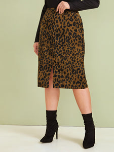 SKIRT Plus Leopard Print Split Front Skirt - EK CHIC
