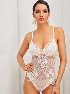 LINGERIE Floral Lace Cut-out Back Sheer Teddy Bodysuit - EK CHIC