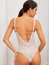 Load image into Gallery viewer, LINGERIE Floral Lace Cut-out Back Sheer Teddy Bodysuit - EK CHIC