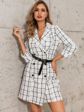 Load image into Gallery viewer, DRESS Plaid Double Breasted Blazer Dress Without Belted - EK CHIC